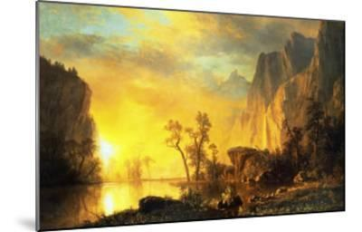 Sunset in the Rockies-Albert Bierstadt-Mounted Art Print