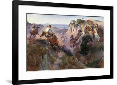 The Wild Horse Hunters-Charles Marion Russell-Framed Art Print