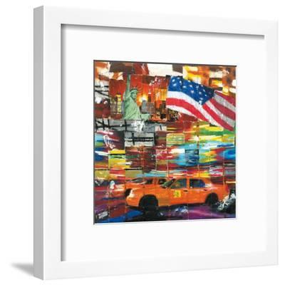New York, 2 Taxis et Drapeau-Annick Bru-Framed Art Print