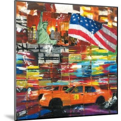 New York, 2 Taxis et Drapeau-Annick Bru-Mounted Art Print