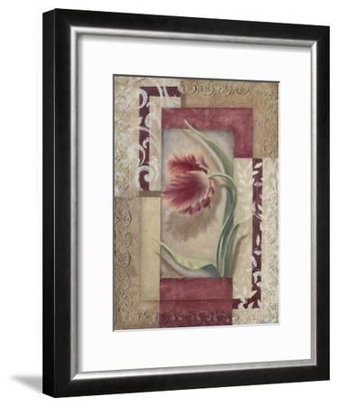 Red Tulip Collage I-Rita Broughton-Framed Art Print