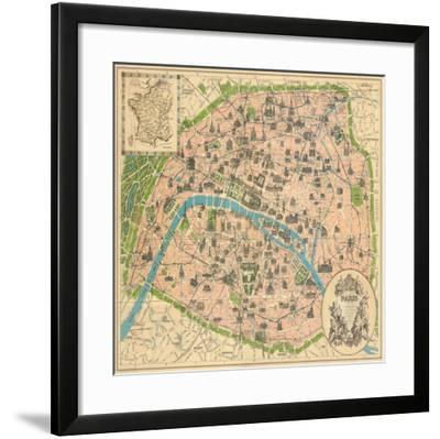 Vintage Paris Map-The Vintage Collection-Framed Art Print