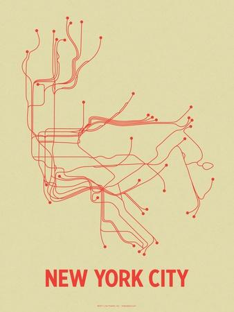 New York City (Cement Green & Orange)-LinePosters-Framed Serigraph