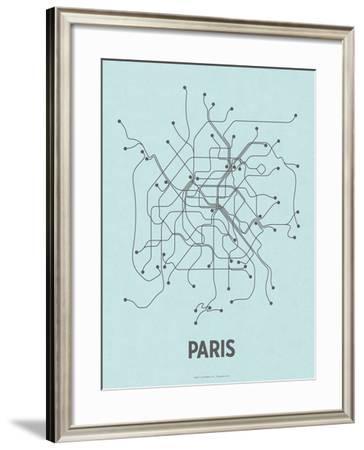 Paris (Light Blue & Dark Gray)-LinePosters-Framed Serigraph