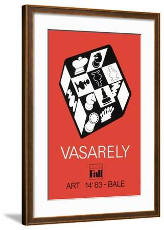 Expo Art Basel 83 - Echecs fond rouge-Victor Vasarely-Framed Collectable Print