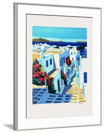 Mykonos : plein soleil-Jean Claude Quilici-Framed Premium Edition