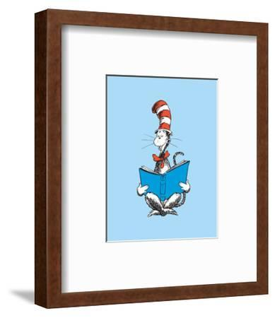 The Cat in the Hat (on blue)-Theodor (Dr. Seuss) Geisel-Framed Art Print