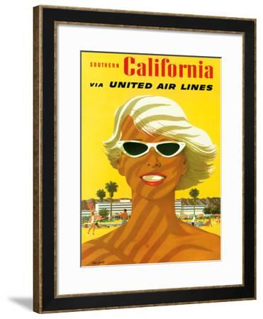 Fly United Air Lines: Southern California, c.1955-Stan Galli-Framed Giclee Print