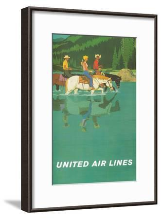 United Air Lines: Horse Back Riders, c.1960s-Stan Galli-Framed Art Print