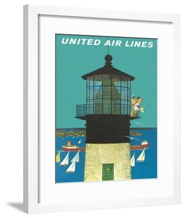 United Air Lines: Lighthouse, c.1960s-Stan Galli-Framed Giclee Print