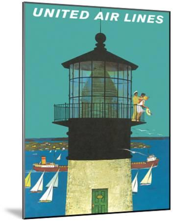 United Air Lines: Lighthouse, c.1960s-Stan Galli-Mounted Giclee Print