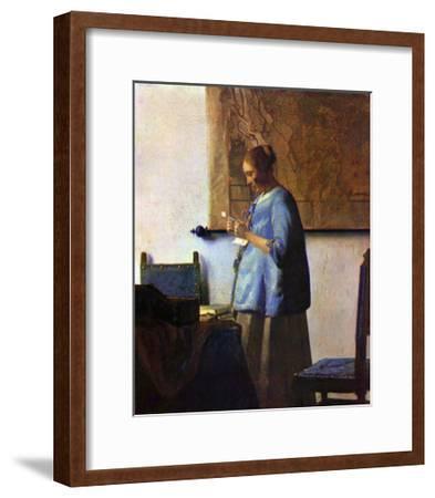 Woman in Blue Reading-Johannes Vermeer-Framed Giclee Print