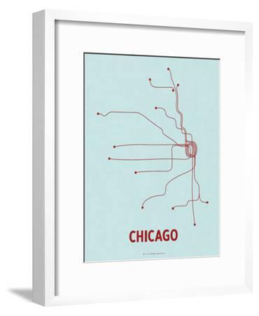 Chicago (Light Blue & Red)-LinePosters-Framed Serigraph