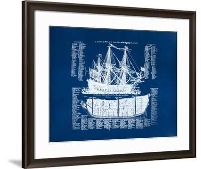 Old Ship Diagram (blue)-Kyle & Courtney Harmon-Framed Serigraph