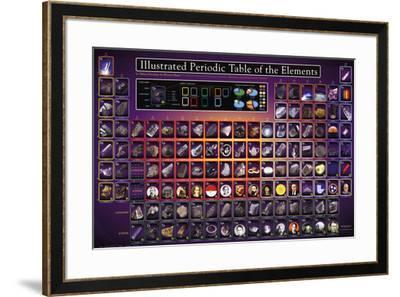 Illustrated Periodic Table of the Elements Educational Poster--Framed Poster