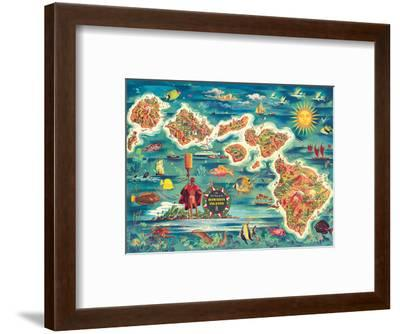 Dole Map of the Hawaiian Islands c.1950-Joseph Feh?r-Framed Art Print
