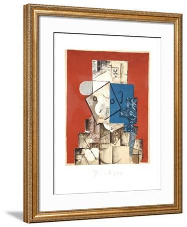 Visage sur Fond Rouge-Pablo Picasso-Framed Collectable Print