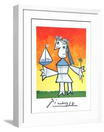 Fillette Couronee au Bateau-Pablo Picasso-Framed Collectable Print
