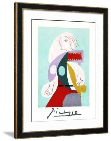 Femme a la Robe Multicolore-Pablo Picasso-Framed Collectable Print