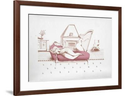 Lounging with Harp (Rose)-Branko Bahunek-Framed Limited Edition