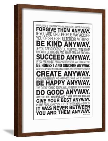 Mother Teresa Anyway Poster--Framed Poster