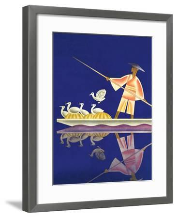 Birds and Boatman-Frank Mcintosh-Framed Art Print