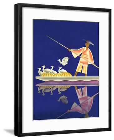 Birds and Boatman-Frank Mcintosh-Framed Art Print