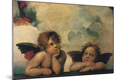 Santi Sixtinische Madonna Detail-Raphael-Mounted Art Print