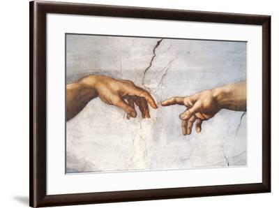 Creation of Adam Detail Hands-Michelangelo Buonarroti-Framed Art Print