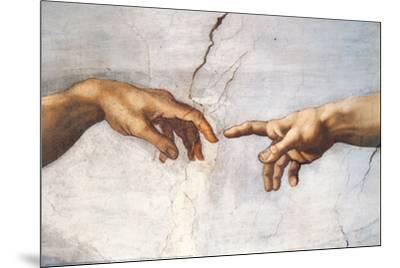 Creation of Adam Detail Hands-Michelangelo Buonarroti-Mounted Art Print