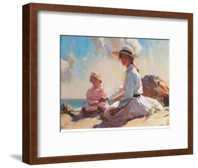 Summer On The Beach-John Richard Townsend-Framed Art Print