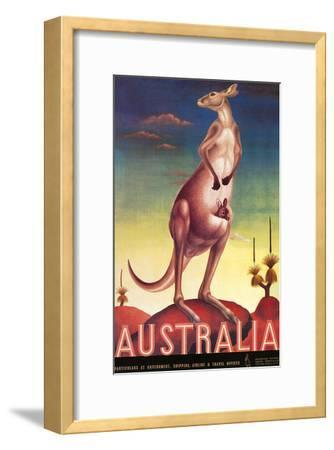 Australia, Airline & Travel Kangaroo c.1957-Eileen Mayo-Framed Art Print
