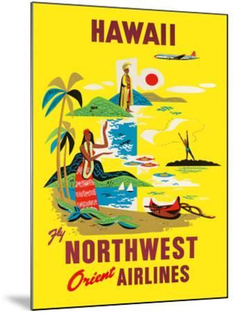 Northwest Orient Airlines, Hawaii c.1960s--Mounted Giclee Print