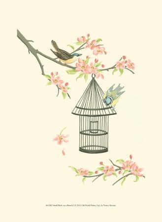 Small Birds on a Branch I-Nancy Slocum-Art Print