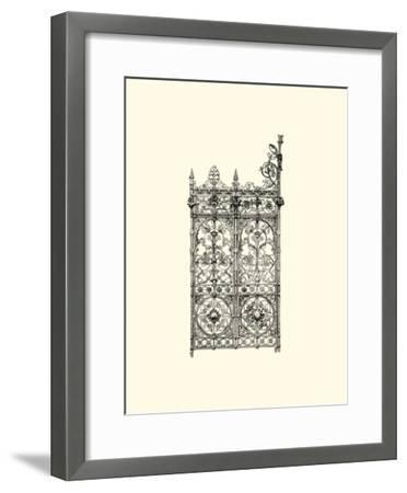 B&W Wrought Iron Gate V--Framed Giclee Print