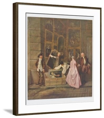 The Art Dealer Gersaint's Sign Board (left part)-Antoine Watteau-Framed Collectable Print