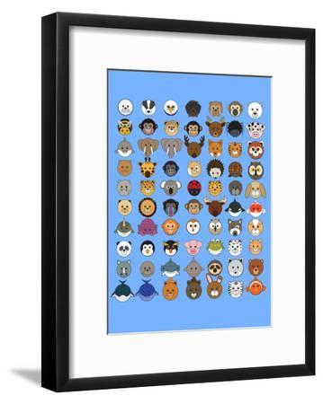 70 Animaru On Blue--Framed Art Print