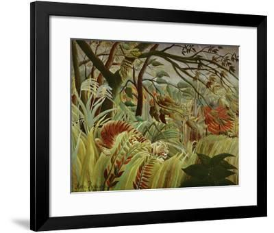 Tropical Storm with Tiger-Henri Rousseau-Framed Art Print