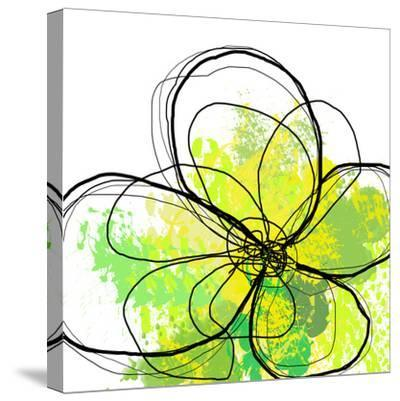 Green Abstract Brush Splash Flower-Irena Orlov-Stretched Canvas Print