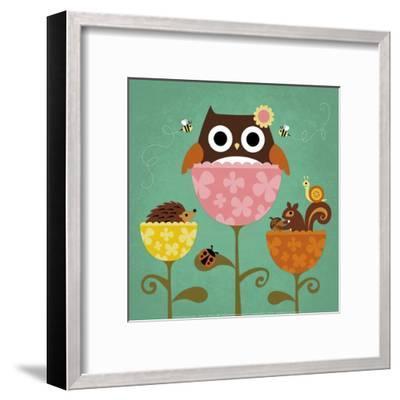Owl, Squirrel and Hedgehog in Flowers-Nancy Lee-Framed Art Print