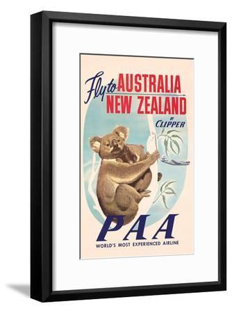 Fly to Australia and New Zealand c.1950s--Framed Art Print