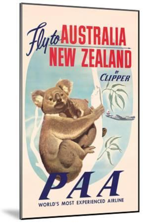 Fly to Australia and New Zealand c.1950s--Mounted Art Print