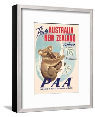 Fly to Australia and New Zealand c.1950s--Framed Giclee Print