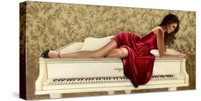 Woman in red-John Silver-Stretched Canvas Print
