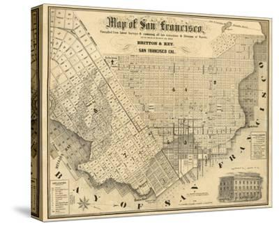 Map of San Francisco, c.1852-Britton & Rey-Stretched Canvas Print