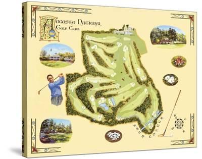 Golf Course Map, Augusta-Bernard Willington-Stretched Canvas Print