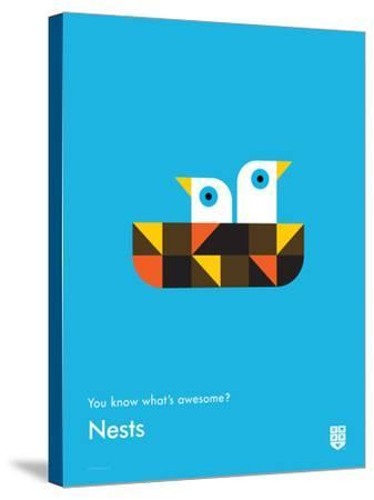 You Know What's Awesome? Nests (Blue)-Wee Society-Stretched Canvas Print