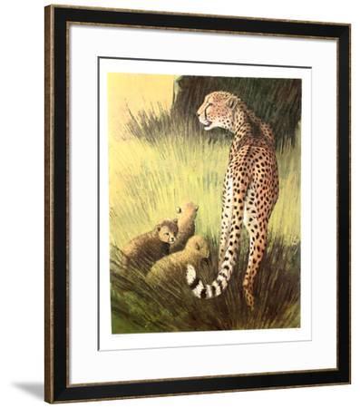 Cheetah Family Masai Mara-Caroline Schultz-Framed Collectable Print