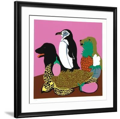Tortoise-Hunt Slonem-Framed Serigraph