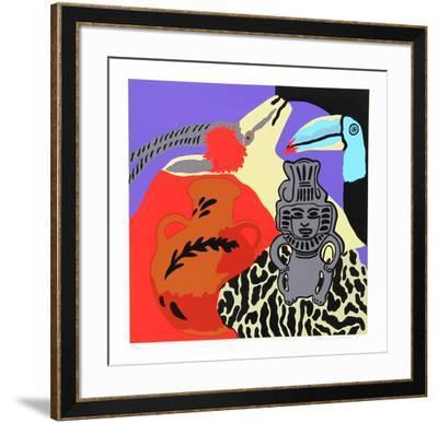 Purple Spell-Hunt Slonem-Framed Serigraph